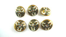 6 Antique Metal ENAMELED BUTTONS Shank End