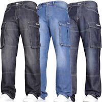New Mens VON DENIM Casual Cargo Combat Work Big Pants Jeans Trousers Waist Sizes