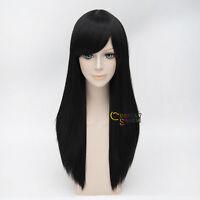 Black Women Lady 55cm Straight Anime Cosplay Hair Heat Resistant Wig