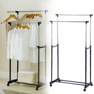 Metall Kleiderständer Stabil Garderobenständer mit 2 Kleiderstange inkl. Rollen