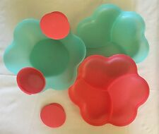 NEW Tupperware Chip N Dip Serving Set - SEA GREEN / CORAL CRUSH