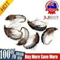 6Pcs Realistic Nymph Scud Fly for Trout Fishing Artificial Insect Baits Lures