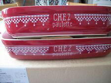 """Comptoir de Famille lot de 2 plats rectangulaire """"Chez paulette"""" Neuf"""
