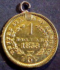 1853-O One Dollar Gold Love Token W. Loop.Min. Bid .01 & No Reserve!