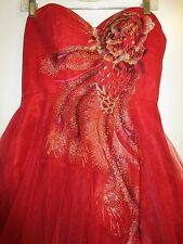 Fiesta Formals L Dress Gown Princess Peacock Embroidered Gold Sequin Red Prom
