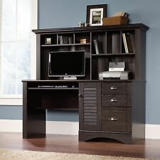 New Sauder Harbor View Computer Office Desk with Hutch Antiqued Paint Finish