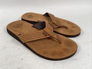 Mens Teva Mush Luxe Flip Flops Tan Brown Leather 11 US Leather Brown