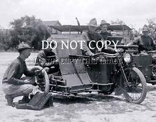ANTIQUE REPRO 8X10 WW1 PHOTO MACHINE GUN MOUNTED HARLEY DAVIDSON MOTORCYCLE #2