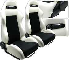 NEW 1 PAIR WHITE PVC LEATHER BLACK SUEDE ADJUSTABLE RACING SEATS ALL FORD *****