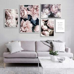 Canvas Painting Peony Flower Petal Poster Nordic Botanical Art Print Wall Decor