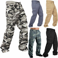 Mens Cargo Work Pants Military Army Cargo Camo Combat Casual Relaxed Fit Trouser