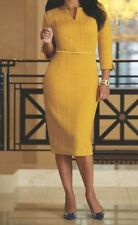 ASHRO NUDARIA Ladies Yellow Gold Cable Knit Belted Dress 3/4 Sleeve Sz.L $89.99
