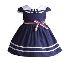 Cinda niña verano vestido de fiesta en Azul Rojo Blanco 3 4 5 6 7 años