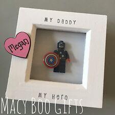 Personalised Gift Present Lego Frame Superhero Dad Daddy Grandad Captain America