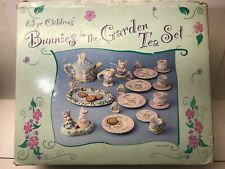 Bunnies in the garden childrens 23 piece hand painted tea sets