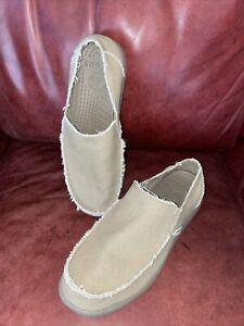 NEW~MENS CANVAS CROCS~SANTA CRUZ~tan-khaki~slip-on~shoes/loafers sz 13 M~relaxed