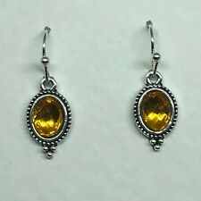 SMALL YELLOW CRYSTAL VICTORIAN STYLE OVAL DARK SILVER PLATED DROP EARRINGS hook