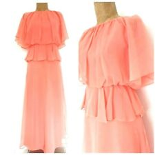 Vintage 70s Sheer Chiffon Disco Dress Size Small Wedding Coral Cocktail Evening