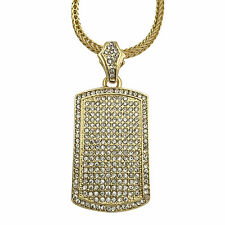 "Mens 18K Gold GP Iced CZ Dog Tag Pendant Necklace w 36"" Franco Snake Chain"