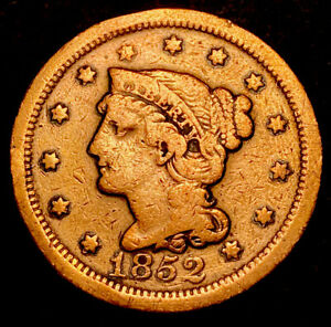1852 Braided Hair Large 1c Obsolete Type Coin Nice Details Cleaned
