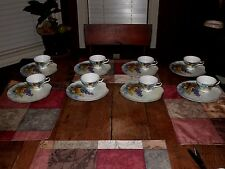 HAND PAINTED LEFTON CHINA FESTIVAL 8 SNACK SETS PLATE CUP GRAPES RARE PATTERN