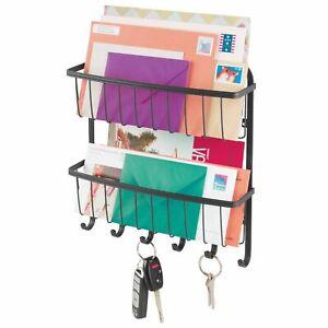mDesign Wall Mount 2 Tier Metal Mail Organizer Storage Basket, 6 Hooks - Black