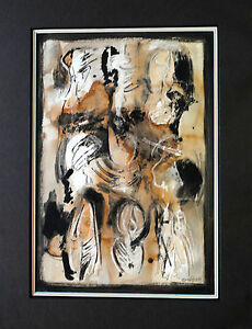 Original Untitled Abstract by Tomás Oliva Sr. Cuban Artist Signed, Framed, Dated