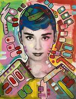 Dean Russo Art Original Artwork Audrey Hepburn  Pop Art