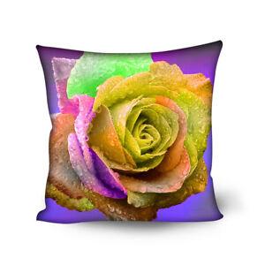 "Colorful Rose Cushion Cover Zipper Throw Pillow Case for Car Sofa Decor 18""x18"""
