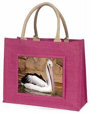 Pelican Print Large Pink Jute Shopping Bag Animal Gift Ab-68blp