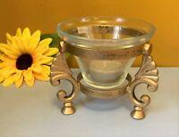 "Wrought Iron Gold Tone Tripod & Glass Votive Tea Light Candle Holder 4""W x 4""H"