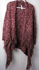 Forever 21 Fringed Sweater Shawl Collar Long Sleeve Burgundy White Small  #7238