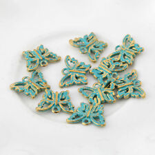 10pcs Butterfly Bronze Green Charms Beads Pendant DIY Jewelry Making 15*11mm