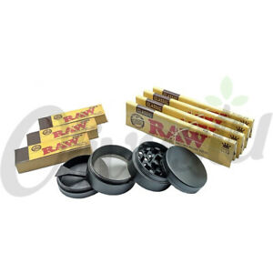 4 x RAW King Size Rolling Papers + 3 x Roach Tips+ Metal 4 Part Grinder Gift Set