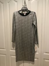 LuLaRoe SMALL Elegant Debbie Dress SILVER metallic Shiny