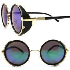 Side Shield Retro Goth Steampunk Style Green Mirror Lens Gold Round Sunglasses