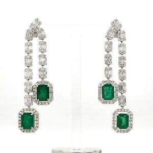 10.70 TCW Emerald Gemstone Dangle Earrings 18k White Gold SI/HI Baguette Diamond