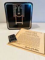 Art Deco Style Tin Charles Of The Ritz Black Female Face with Matching Brooch