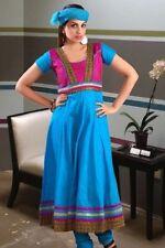 Traditional Sky Blue Cotton Anarkali Suit with Zari-Work Laces - Chiffon Dupatta