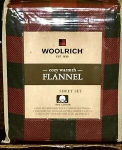 WOOLRICH Buffalo Plaid Flannel Sheet Set - KING Size Set 100% Cotton Flannel