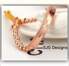 1x Beaded ROSEGOLD Plated Inspired BRACLET With Faux Leather
