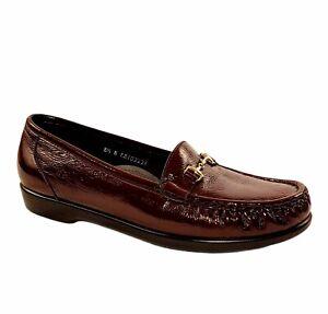 SAS Burgundy Patent Leather Horse Bit Tripad Comfort Loafer Shoes Women Size 8.5