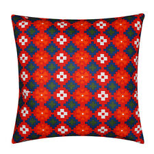 Orange & Blue Aztec Floral 100% Twill Cotton Cushion Cover Pillow for Sofa Bed