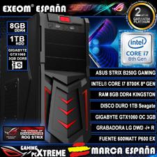 Ordenador PC Gaming Intel i7 8700k 8GB 1TB ASUS Gtx1060 3GB OC de sobremesa