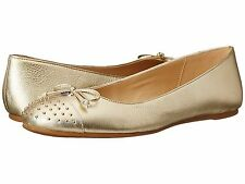 COACH Doreen Platinum Metallic Tumbled Flats Shoes Gold Studded Cap Toe SZ 6.5
