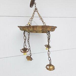 antique Victorian 4 arm chandelier  light pendant ceiling  light brass