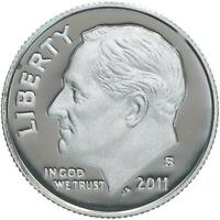 2011 S Roosevelt Dime Gem Deep Cameo 90% Silver Proof US Coin