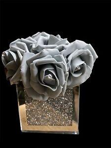 Silver Crush Diamond Vase Square Mirrored Finish With Grey Roses Hat Box 10x10cm