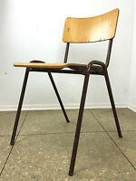 70er Jahre Stuhl Werkstattstuhl Holzstuhl Metallgestell Space Age Design Vintage