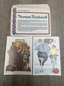 Two 1972 Norman Rockwell Saturday Evening Post 5x7 Original Lithographs Pristine